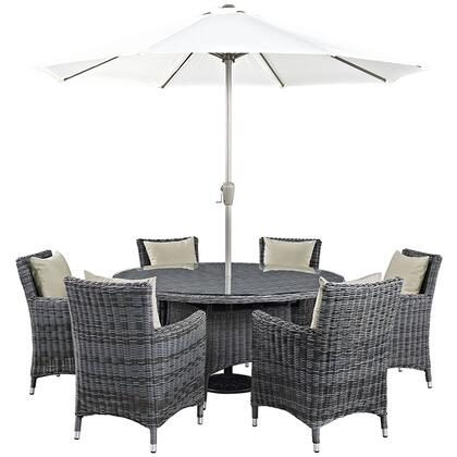 Summon Collection EEI-2329-GRY-BEI-SET 8-Piece Outdoor Patio Sunbrella Dining Set with Umbrella & Pole  Round Dining Table and 6 Armchairs in Antique Canvas