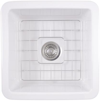 Cape Collection WELLFLEET-1818W 18 inch  Undermount Fireclay Kitchen Sink with Stain and Scratch Resistant  Single Bowl  Stainless Steel Drain  Porcelain Enamel
