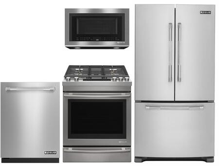 4-Piece Kitchen Package With JFC2089BEP 36 inch  Counter Depth French Door  Refrigerator  JGS1450FP 30 inch  Slide-in Gas Range  JMV8208CS 30 inch  Over the Range Microwave