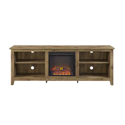 W70FP18BW 70 inch  Wood Media TV Stand Console with Fireplace in