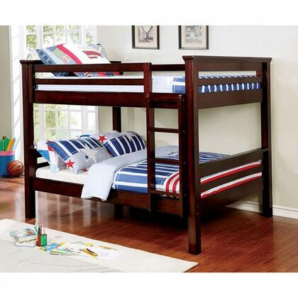 Marcie Collection CM-BK450FF-BED Full Size Bunk Bed with Attached Ladder  Top Guard Rails  Slats Top/Bottom  Solid Wood and Wood Veneer Construction in Dark