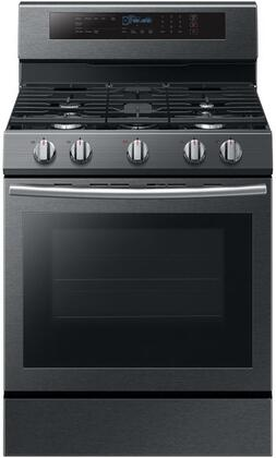 "NX58M6630SG 30"" Freestanding Gas Range with 5.8 cu. ft. Oven Capacity  5 Sealed Burners  True Convection  and Blue LED Illuminated Knobs  in Black Stainless"