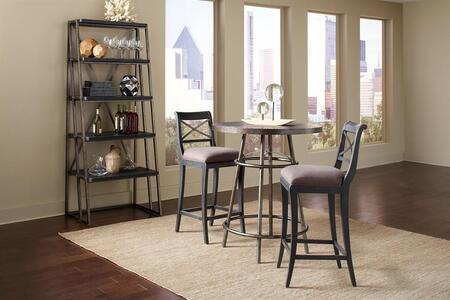 Vintage Tempo 402244SETB 4 PC Bar Table Set with Pub Table + 2 Bar Stools + Estagere in Black