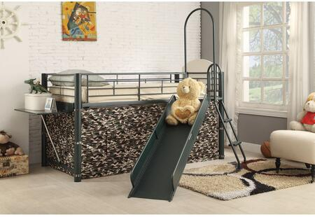 Wayde Collection 37305 Loft Bed with Slide  Tent  Attached Ladder and Metal Tube Construction in Green