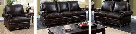 Reinhardt Collection CM6318DB-SLC 3-Piece Living Room Set with Stationary Sofa  Loveseat and Chair in Dark