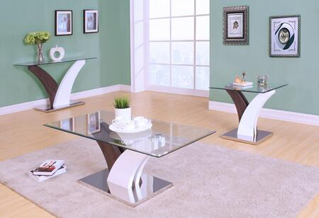 Forest Collection 82865SET 3 PC Living Room Table Set with Coffee Table + Sofa Table + End Table in White and Walnut