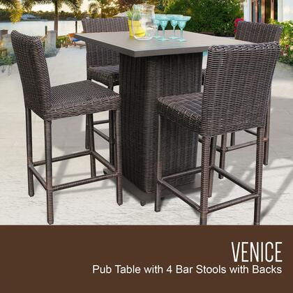 VENICE-PUB-KIT-4 5-Piece Venice Pub Table Set with Table and 4 Bar Stools with