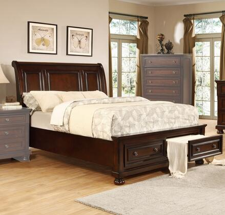 Manhattan Collection Queen Size Bed with 2 Drawers  Sleigh Headboard  Low Profile Footboard  Bun Feet  Solid Pine Wood Construction and Birch Veneer Material