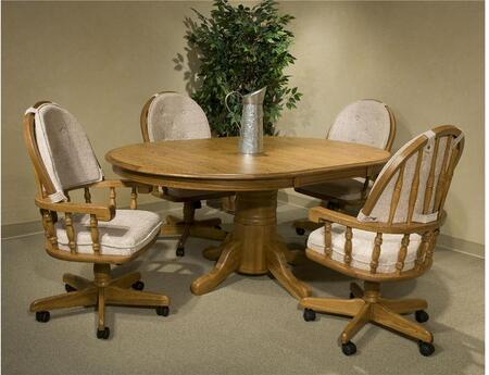 Classic Oak CO-TA-L487025014-CNT-C Dining Room  Laminate Table and 4 Chairs with  Cabriole Legs   Molding Detail in