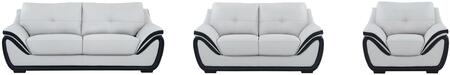 U3250-R6U6-GR/BL-SLCH 3-Piece Living Room Set with Sofa  Loveseat and Chair in Natalie Light Grey and