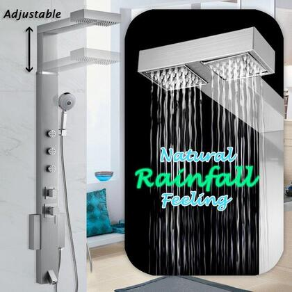 AK-858371 59 Stainless Steel Shower Panel Adjustable Height Tower Rainfall