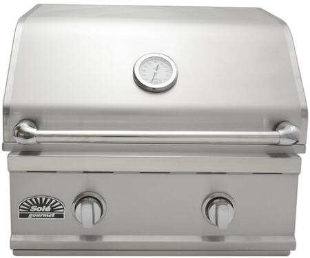SO261BQTR 26 inch  Built-in Luxury Natural Gas Grill with 36 000 BTU 2 Burner  480 Sq. In. Grilling Area  4 inch  Easy-Read Temperature Gauge and Radiant Ceramic