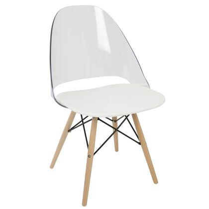 CH-TNC W+NA2 Tonic Mid-Century Modern Dining / Accent Chair in White - Set of