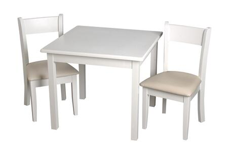 23004W Children's Square White Table with 2 matching Off White Upholstered Chairs