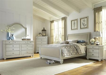 Harbor View III Collection 731-BR-QSLDMCN 5-Piece Bedroom Set with Queen Sleigh Bed  Dresser  Mirror  Chest and Night Stand in Dove Gray