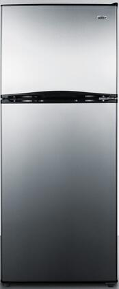 Summit FF1073SS 24 Top Freezer Refrigerator with 9.9 Cu. Ft. Capacity Frost Free Operation Thin-Line Design Two Clear Crispers Interior Light and Full Freezer Shelf: Stainless Steel