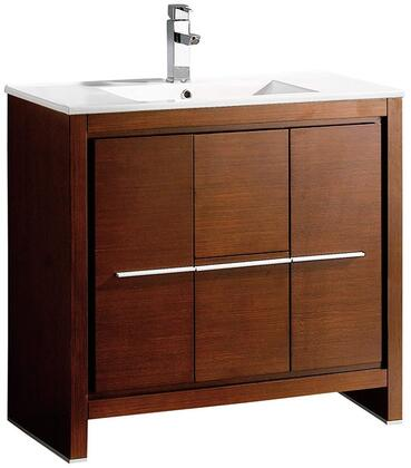 Allier FCB8136WG-I 36 inch  Single Sink Vanity with 2 Soft Closing Doors  2 Soft Closing Drawers and Integrated Sink in Wenge