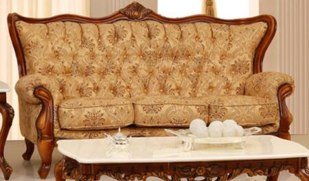 995FBEIGES Traditional Style Sofa with Finest Fabric Upholstery in Gold/Beige  Crown-like Design on Top and Hand Carved Wooden Frame in Matte Walnut