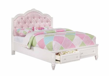 Caroline Collection 400721F Full Size Storage Bed with 2 Footboard Drawers  Padded Upholstered Headboard  Rhinestone Button Tufting  Decorative Molding and