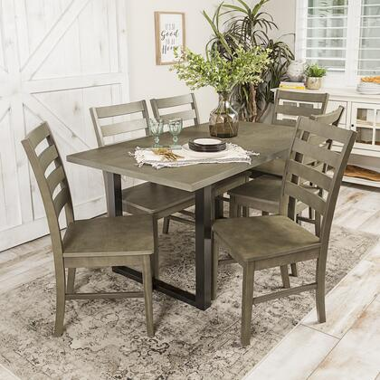 C60MDAGY-7 7-Piece Rustic Modern Farmhouse Wood Kitchen Dining Set in Aged
