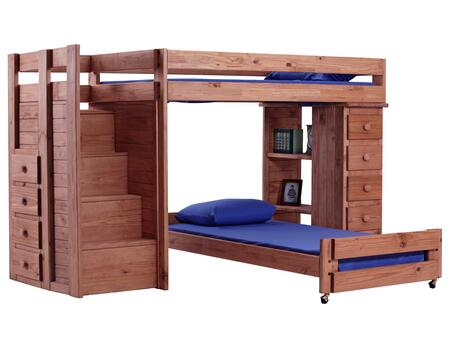 31345 Twin Over Twin Staircase Bunk Bed with 5 Drawer Lingerie Chest Mahogany