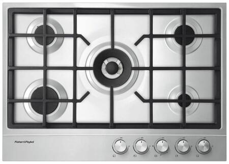 Fisher Paykel CG305DLPX1N 30 Inch Liquid Propane Cooktop with 5 Sealed Burners, Electronic Ignition, Cast Iron Grates in Stainless Steel