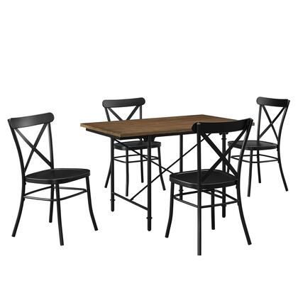 DSD087002 5 Piece Industrial Wood & Metal Dining Set In