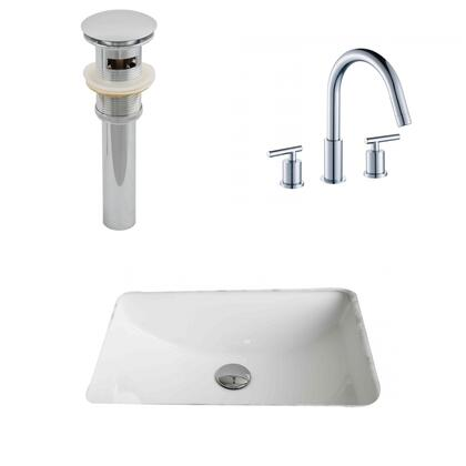 AI-12923 20.75-in. Width x 14.35-in. Diameter CUPC Rectangle Undermount Sink Set In White With 8-in. o.c. CUPC Faucet And