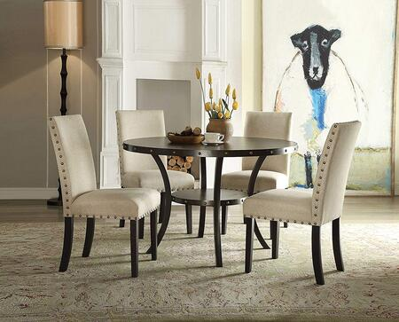 Hadas Collection 720554SET 5 PC Dining Room Set with Round Shaped Dining Table and 4 Beige Fabric Upholstered Side Chairs in Walnut