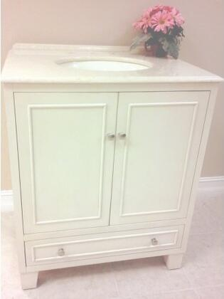 Lacie B3581WI 30 inch  Single Sink Vanity with Cream Marfil Marble Top  1 inch  Backsplash  1 Porcelain Undermount Sink  2 Doors  1 Shelf and 1 Felt-lined Drawer with