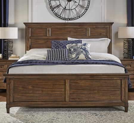 "Harborside Collection HABSV5090 88"""" Queen Panel Bed with Solid Mindi Construction  Tapered Legs and Molding Details in Savannah Brown"" 912307"