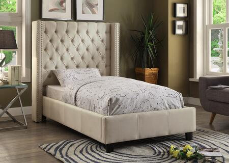 Ashton Collection ASHTONBEIGE-T Twin Size Upholstered Bed with Deep Detailed Tufting  Chrome Nailheads and Wing Design in