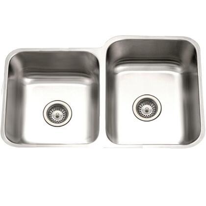 STE-2300SL-1 Eston Series Undermount Stainless Steel 60/40 Double Bowl Kitchen Sink  Small Bowl Left  18