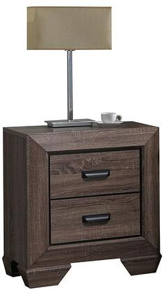 Lyndon Collection 26023 24 inch  Nightstand with 2 Drawers  Shaker Style Sloped Leg  Solid Tropical Wood and Paper Veneer Materials in Weathered Grey Grain