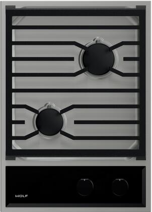CG152TFS 15 inch  Transitional Natural Gas Cooktop with 2 Burners  Spark Ignition System  Cast-Iron Grate  and Seamless Burner Pan  in Stainless