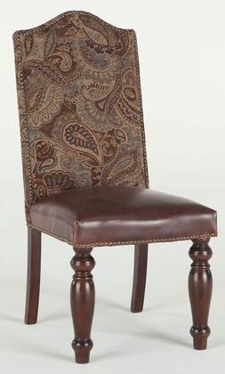 Emilia ZWEI63EG 20 inch  Dining Chair with Nail Head Trim  Brown Leather Seat Upholstery and Fabric Upholstered Back in Evening Garden
