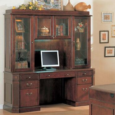 YN7770CH Youngtown Credenza and Hutch in a Dark Cherry