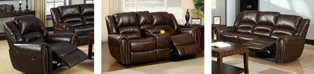 Dundee Collection CM6960-SLCR 3-Piece Living Room Set with Motion Sofa  Motion Loveseat with Cup Holders and Recliner in Dark
