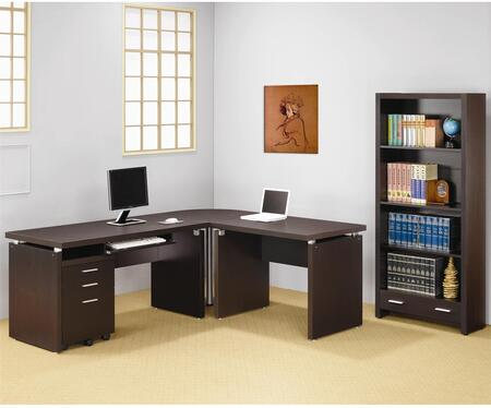 Skylar 800891SETB 5 PC Desk Set with Computer Desk + Extension Desk + Corner Table + Mobile File Cabinet + Bookcase in Cappuccino