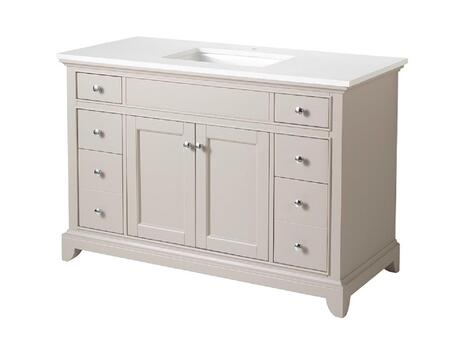 Arianny Collection TY734049QZ 49 inch  Single Sink Bathroom Vanity with 6 Drawers  Chrome Hardware  Rectangular Undermount Porcelain Basin and Solid Wood