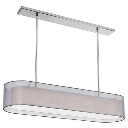 MEL448-814-790-PC 4 Light Pendant  Shade Within Shade  Silver & White With 790