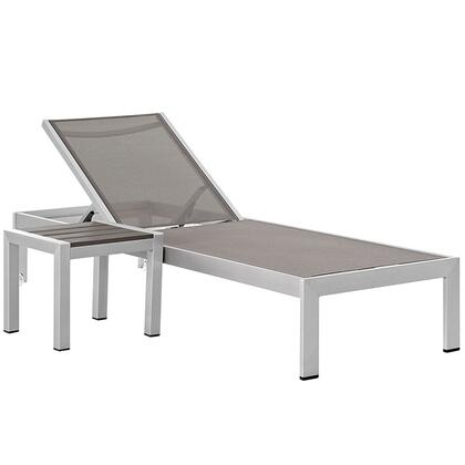 Shore Collection Eei-2470-slv-gry-set 2-piece Outdoor Patio Aluminum Set With Chaise And Side Table In