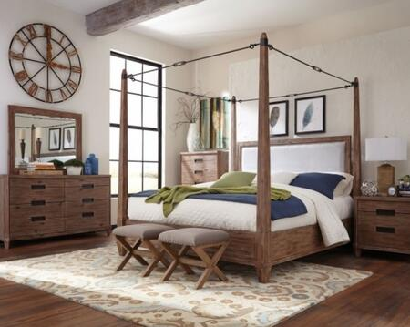 Madeleine Collection 203541KW7SET 7 PC Bedroom Set with California King Size Canopy Bed + Dresser + Mirror + Chest + Nightstand + 2 Ottomans in Smoky Acacia
