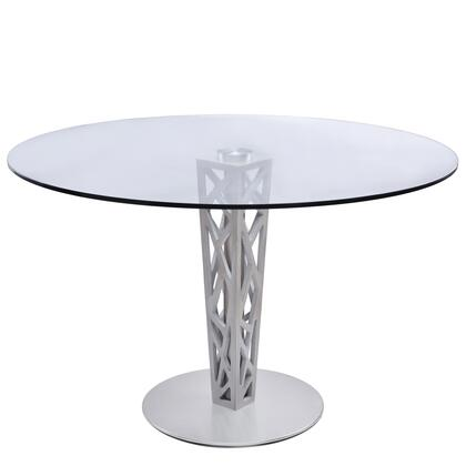 LCCRDITOCLGL Crystal Round Dining Table in Brushed Stainless Steel finish with Gray Walnut Veneer Column and 48