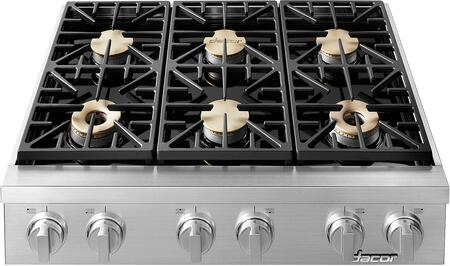 Dacor HYRTP366SNG Heritage Series 36 Inch Natural Gas Rangetop with 6 Sealed Burners, SimmerSear Burners, Perma-Flame, SmartFlame in Stainless Steel