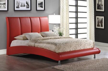 8272-R-KB King Size Platform Bed with PU Faux Leather Upholstery  Chrome Metal Legs and Arched Base Design in