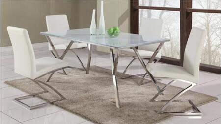 JADE-DT-SET White Glass Dining Table Top With Modern Stainless Steel Dining Table Base + 4 Dining Room