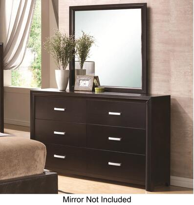 202473N Andreas Dresser with 6 Drawers  Burnished Nickel Hardware  French Front and English Back Dovetail Drawers in Cappuccino Brown