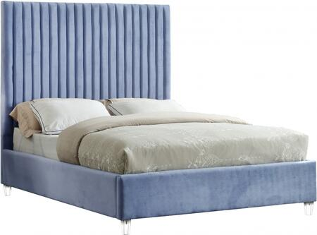 Candace Collection CandaceSkyBlu-Q Queen Size Bed with Velvet Fabric Upholstery  Channel Tufted Headboard  Slats Included and Acrylic Feet in Sky
