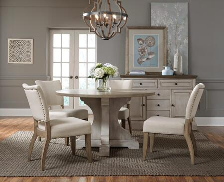 Dakota Collection 197-41-42-4SC 6-Piece Dining Room Set with Round Dining Table  Sideboard and 4 Side Chairs in Grey and